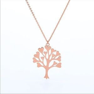 Jewelry - Rose Gold Stainless Steel Tree Life Heart necklace